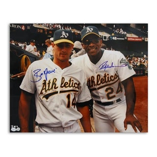 Rickey Henderson and Ben Grieve Oakland Athletics Dual Autographed 16x20 Photo