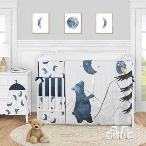 Woodland Bear and Owl Boy or Girl 5pc Nursery Crib Bedding Set - Navy Blue Grey Gold Black Celestial Moon Star Watercolor Forest