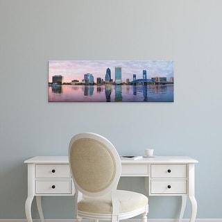 Easy Art Prints Panoramic Image 'Skyscrapers, Main Street Bridge, St. John's River, Jacksonville, Florida' Canvas Art