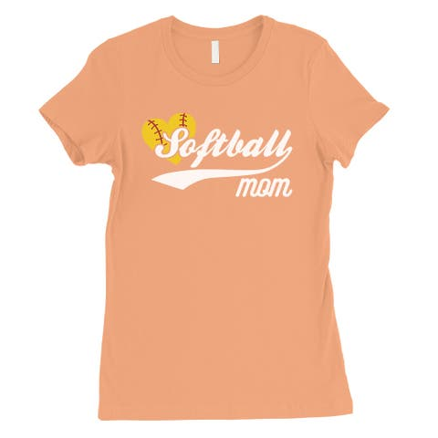 Softball Mom Womens Peach Tee Shirt Funny Sports Mom Gift T-Shirt