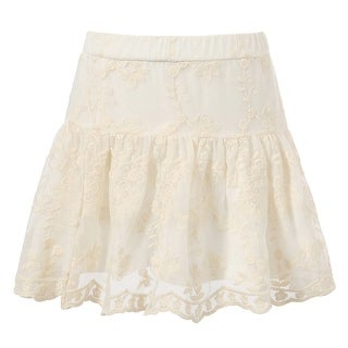 Richie House Little Girls White Lace Covered Flower Embroidered Skirt 4-6