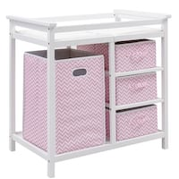 Costway Pink Infant Baby Changing Table w/3 Basket Hamper Diaper Storage Nursery