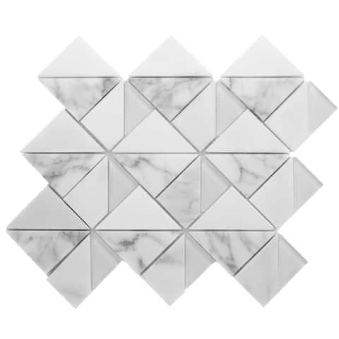 TileGen. Geometric Triangle Random Sized Marble Mosaic Tile in White/Grey Wall Tile (10 sheets/9.6sqft.)