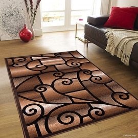 "Allstar Brown Abstract Modern Area Carpet Rug (5' 2"" x 7' 2"")"