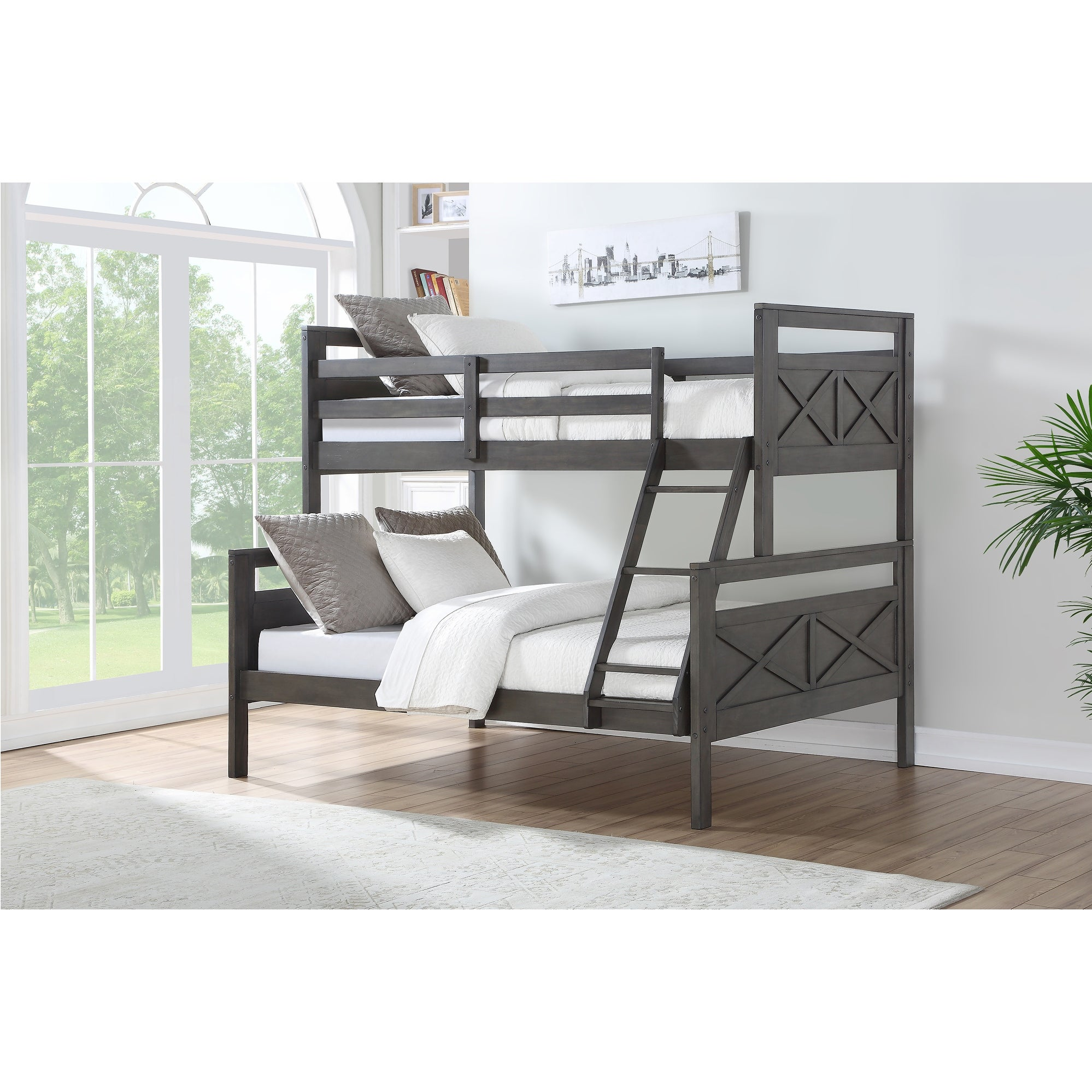 Picture of: Taylor Olive Linaria Grey Twin Over Full Farmhouse Wood Bunk Bed With Twin Trundle Overstock 28520719