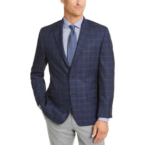 Michael Kors Mens Kelson Two-Button Blazer Woven Plaid - Navy/Blue