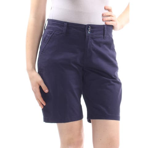 LEE Womens Navy Pocketed Zippered Dual Button Short Size: 8