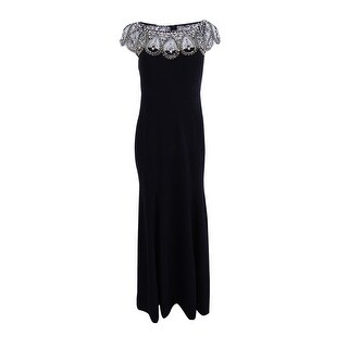 Xscape Women's Petite Beaded Cap-Sleeve Gown - Black/gold - 10P