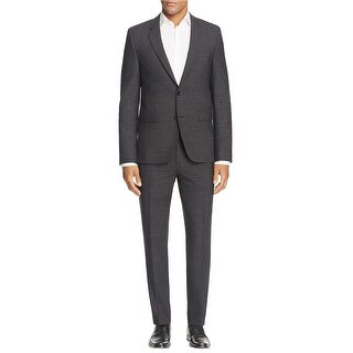 Hugo Boss Mens Astian Hets Extra Slim Fit Box Check Suit 40R Charcoal Pants 34W
