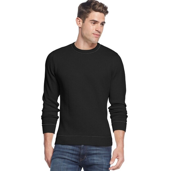 Club Room Tipped Crewneck Sweater Deep Black Cotton