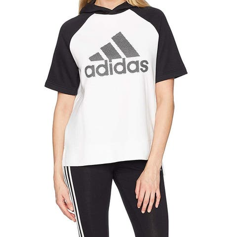 Adidas Womens White Black Size Small S Graphic Print High Low Hoodie