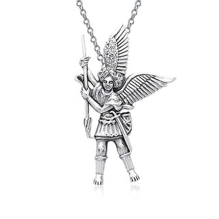 Guardian Angel Parton Of Military Police Security Saint Michael Pendant Necklace For Women For Men 925 Sterling Silver