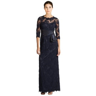 Teri Jon Beaded Lace 3/4 Sleeve Evening Gown Dress - 6