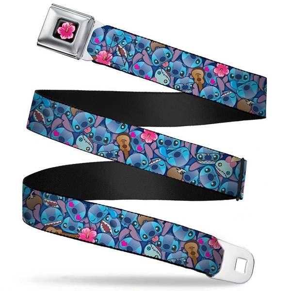 Hibiscus Flower Full Color Black Pinks Stitch Expressions Hibiscus Flower Seatbelt Belt