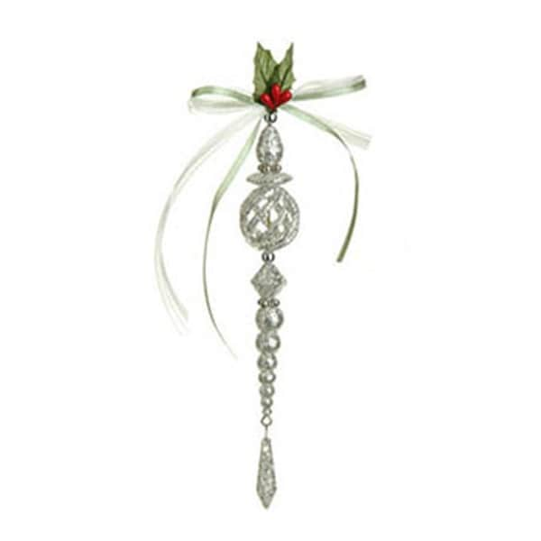 "8"" Silver Glittered Christmas Drop Ornament with Teardrop Pendant"
