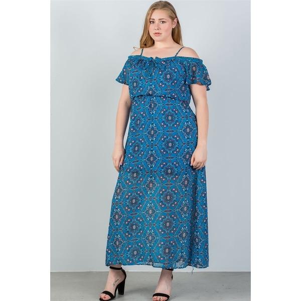 9d7496d27b0 Ladies Fashion Plus Size Blue  amp  Floral Print Cold Shoulder Maxi Dress -  Size -