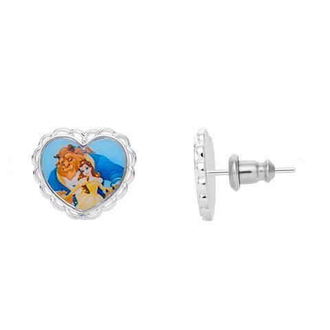 Disney Princess Beauty and The Beast Heart Stud Silver Plated Earrings