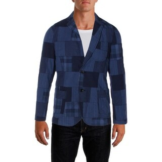 Tommy Hilfiger Mens Two-Button Blazer Patchwork Casual