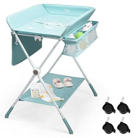 """Folding Baby Changing Table with Storage - 31.5"""" x 29.5"""" x 39""""-41.5"""" (L x W x H)"""
