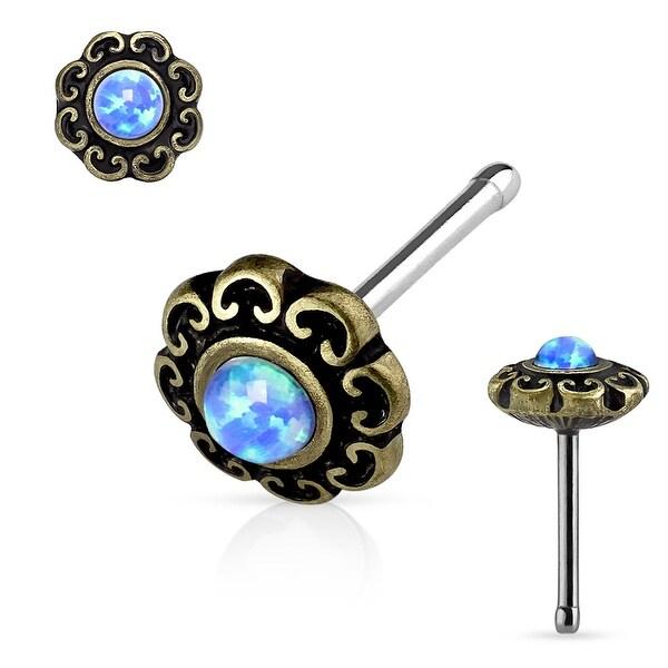 Opal Center Tribal Heart Filigree Antique Gold IP Surgical Steel Nose Stud Ring - 20GA (Sold Ind.)