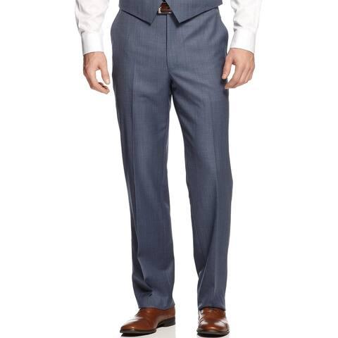 SHAQUILLE O'NEAL Big and Tall Flat Front Dress Pants Blue 56 Waist Regular $150