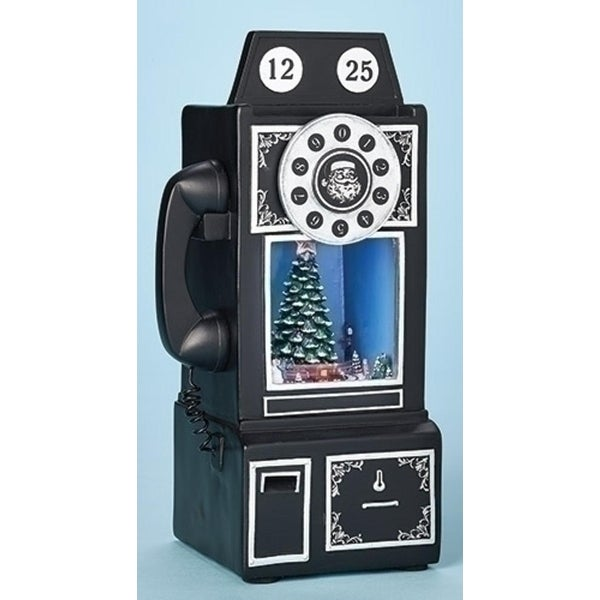 """9.75"""" Amusements Musical LED Lighted Retro Telephone with Revolving Christmas Train Table Top - black"""