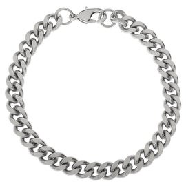 Stainless Steel Finished Bracelet, Heavy Curb Chain Links 7.5x9mm 8 Inches, 1 Bracelet, Steel