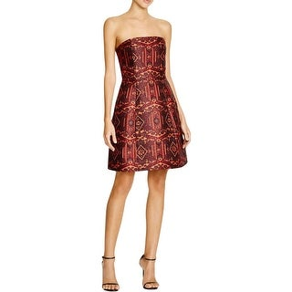 Alice + Olivia Womens Nikki Mini Dress Metallic Jacquard