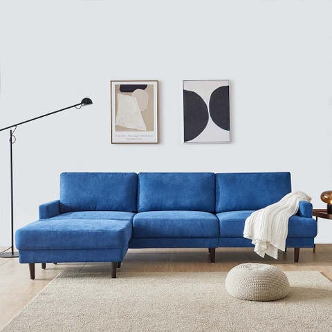 """Modern Fabric Sofa L shape, 3 Seater with Ottoman-104"""" 5-Color"""