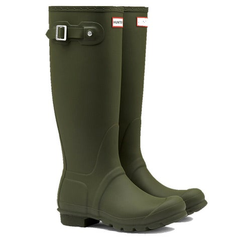 Hunter Women's Original Tall Rain Boots (Dark Olive Green / Size 10)