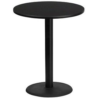 "Dyersburg 36'' Round Black Laminate Table Top w/42"" High Round Base"