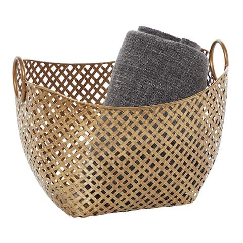 """Large Gold Metal Basket 16.75"""" X 11.5 - 17 x 13 x 11"""