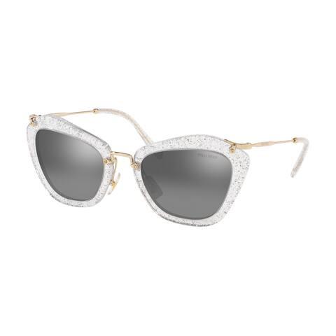 Miu Miu MU 10NS 1481B0 55 Glitter Silver Woman Cat Eye Sunglasses