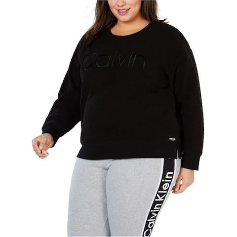 Calvin Klein Womens Sherpa Sweatshirt, Black, 1X