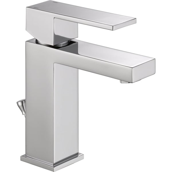 Delta 567LF PP Angular Modern Single Hole Bathroom Faucet With Pop Up Drain  Assembly
