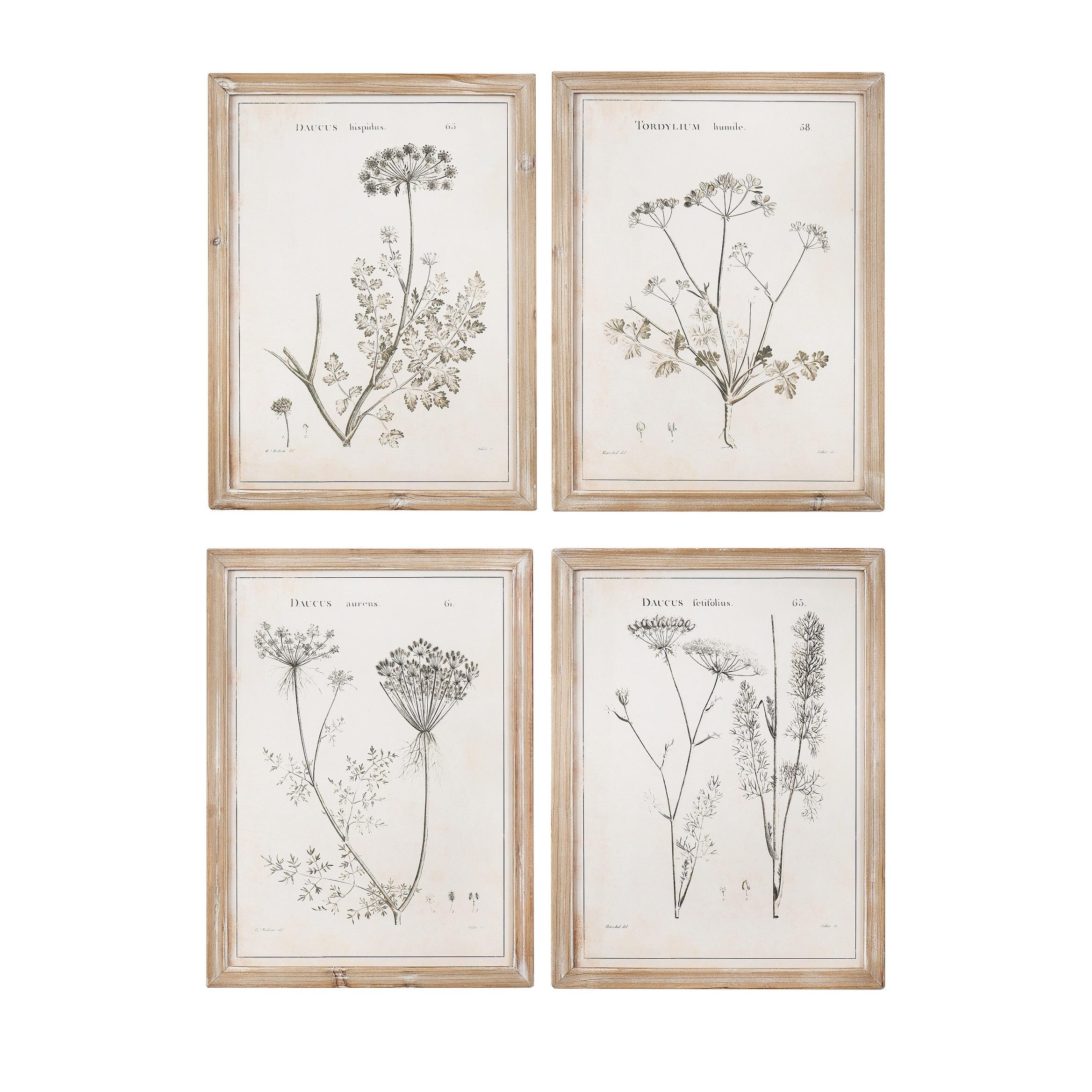 Vintage Reproduction Botanical Print Wood Framed Wall Art Set Of 4 Styles Beige On Sale Overstock 31298554