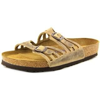 Birkenstock Granada Women Open Toe Leather Tan Slides Sandal