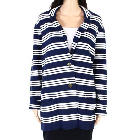 Charter Club Womens Blazer Jacket Blue Size 4X Plus Striped Notch-Lapel