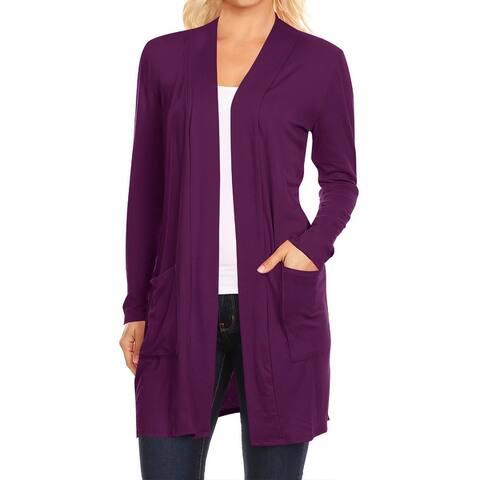 Women's Solid Long Sleeves Cardigan