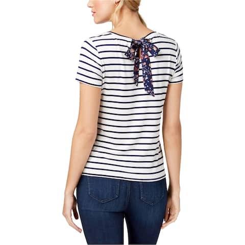 maison Jules Womens Rear Tie Basic T-Shirt, White, Medium
