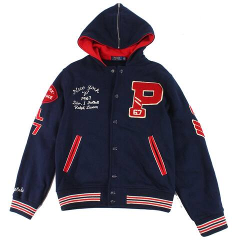 Polo Ralph Lauren Mens Jacket Red Blue Size Medium M Varsity/Baseball
