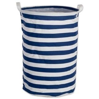 Design Imports Cotton/Polyester Laundry Hamper Stripe Nautical Blue