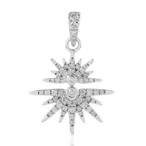Artisan 14kt White Gold Pave Diamond Star Burst Pendant Jewelry Black Friday Sale