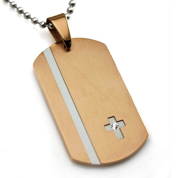 Stainless Steel Rose Gold Plated Contemporary Dog Tag Cross w/ CZ Pendant - 24 inches