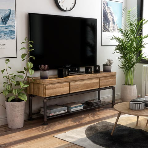 Furniture of America Wini Industrial 60-inch Black Metal TV Stand