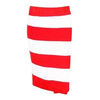 INC International Concepts Women's Striped Faux Wrap Skirt