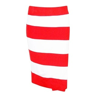 INC International Concepts Women's Striped Faux Wrap Skirt - white/red