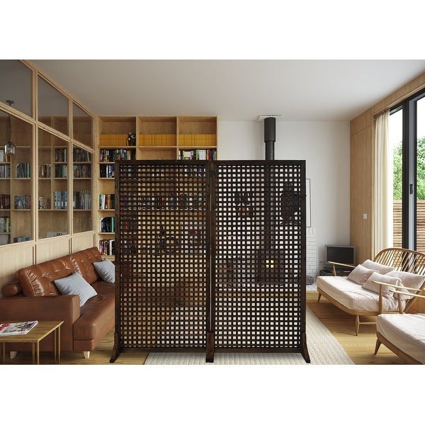 """36"""" W x 72"""" H Solid Wood Privacy Screen Room Divider With Wood Stand - Set of 2pc. Opens flyout."""