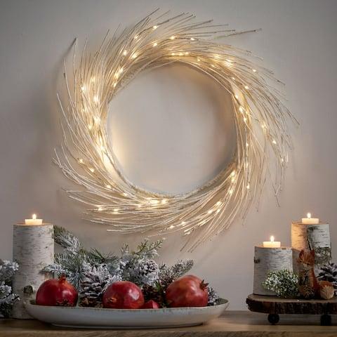 "Reese 24"" Pre-lit Warm White LED Christmas Wreath - Dove Glitter"
