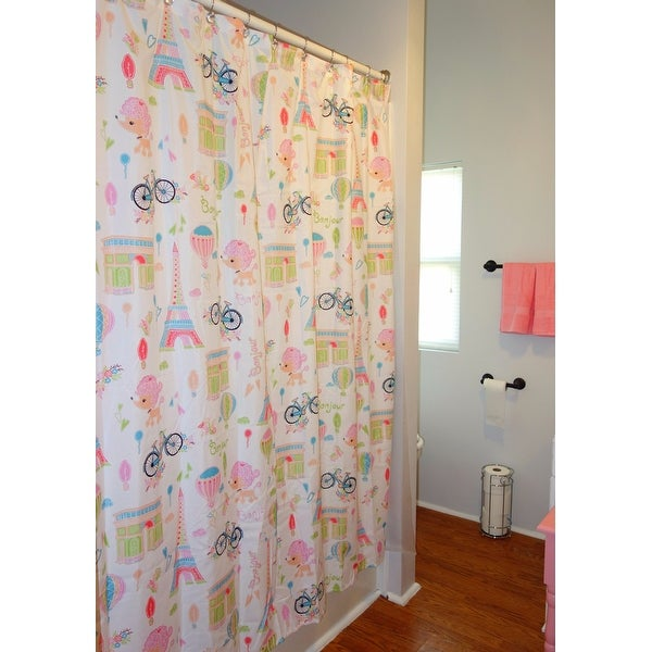 Shop Mi Zone Kids Penelope The Poodle Pink Printed Shower Curtain